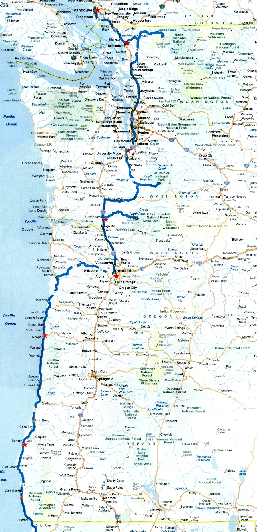 Road Map Of Washington And Oregon Oregon Map - Oregon road maps